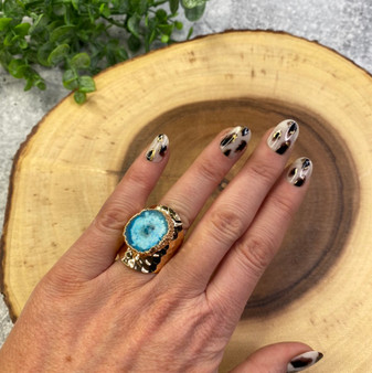 Turquoise  Stone and Gold Adjustable Wide Ring
