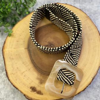 Cream and Black Print Woven Belt