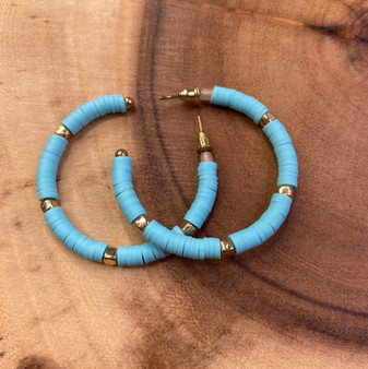 Turquoise Disc Bead and Gold Earring
