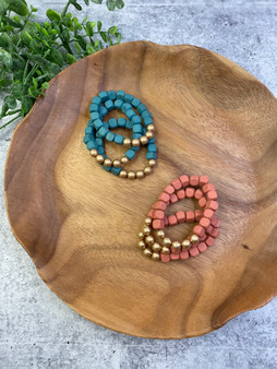 Square Wood Bead Bracelet Stack