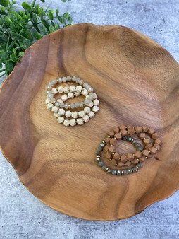 Wood and Sparkle Beaded Bracelet Stack