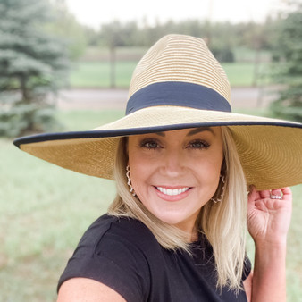 Sun Goddess Wide Ribbon Trimmed Hat