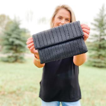 Black Woven Vegan Leather Purse