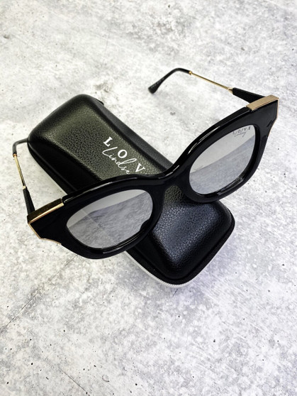 Love Lindsey Sunnies: Black Frame with Silver Mirror Lens
