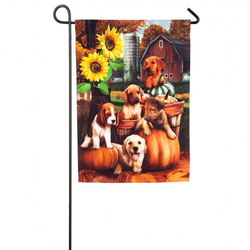 Autumn Puppies Garden Flag