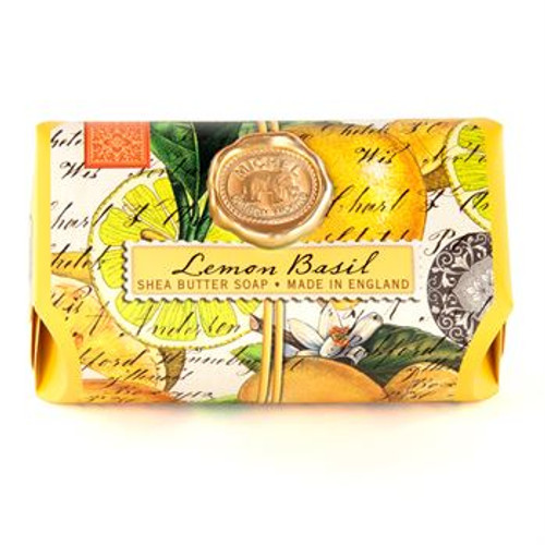 These substantial bars contain only the finest ingredients - pure vegetable palm oil, glycerin and rich, moisturizing shea butter. Each piece is triple-milled and handmade in Sussex, England. Such painstaking care ensures a product that is thoroughly blended, firm, long-lasting and silky smooth. Citrus notes of lemon and mandarin enhanced with green basil leaf