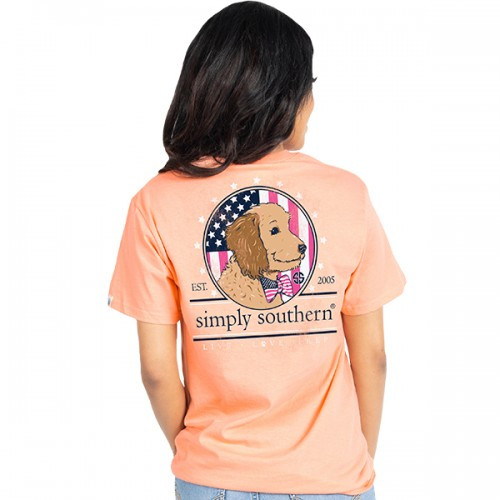 What a cute shirt for dog lovers and anyone who wants to show a little patriotism. Super comfortable cotton makes this t-shirt great to wear anywhere and anytime. By Simply Southern of course!