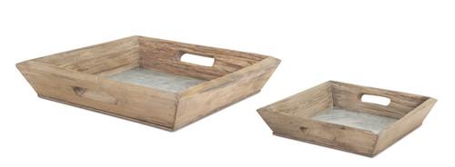 """14.75"""" Tray - Wood/Tin"""