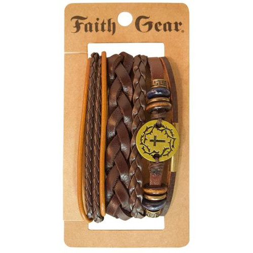 Faith Gear Men's Bracelet Set Gold Crown w/Cross