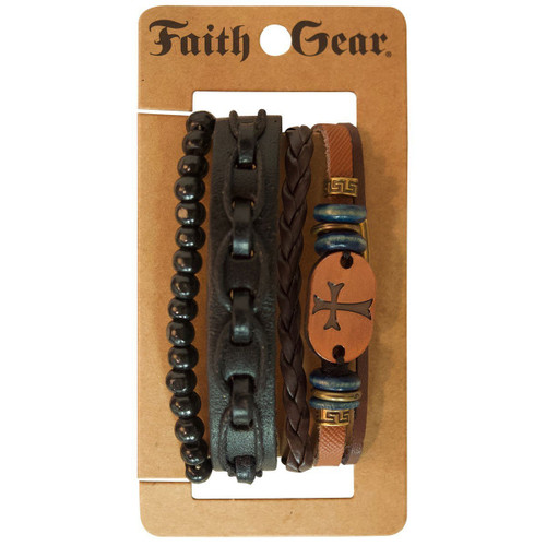 Faith Gear Men's Bracelet Set Copper Cross