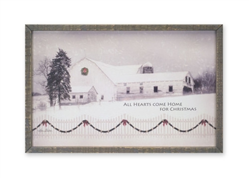 Barn and Fence Print All Hearts Come Home for the Holidays