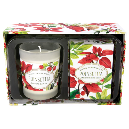 Poinsettia Candle and Soap Gift Set