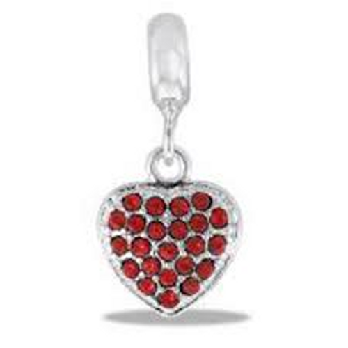 Red CZ Heart Dangle