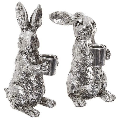 """6.5"""" Silver Bunny Taper Holder sold individually"""