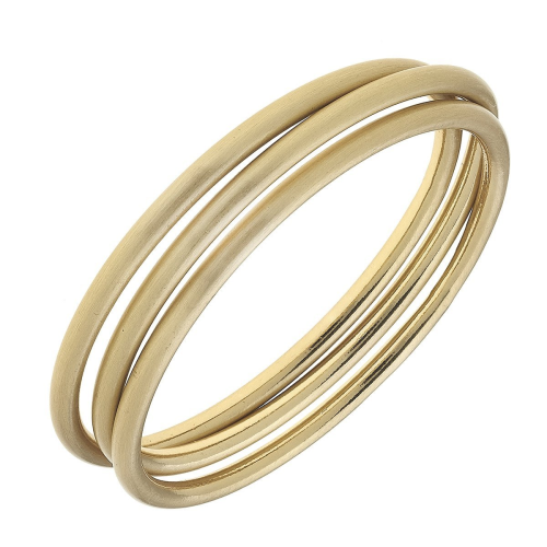 Isla Bangles in Satin Finished Gold