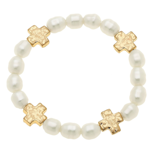 Sarah Cross Bracelet in Ivory Pearl Stretch