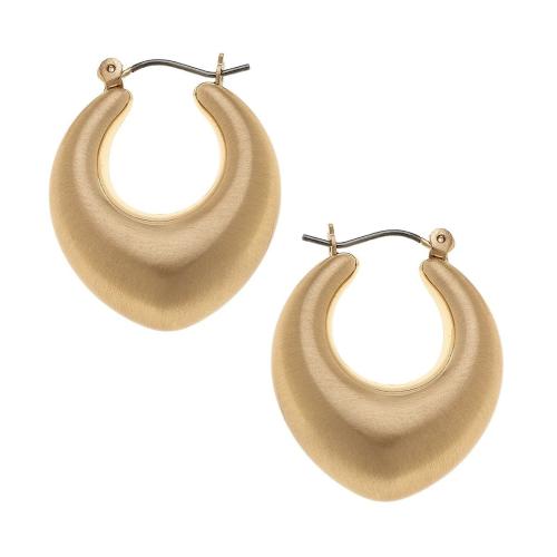 Mae Puffed Hoop Earrings in Satin Gold