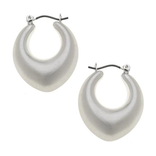 Mae Puffed Hoop Earrings in Satin Silver