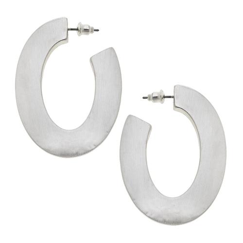 Solange Hoop Earrings in Textured Satin Silver