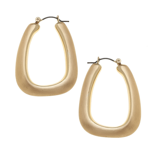 Lainey Puffed Hoop Earrings in Satin Gold