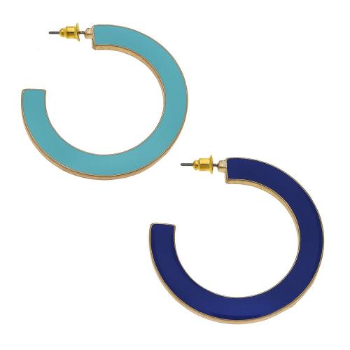 Mika Reversible Hoop Earrings Aqua & Navy Enamel