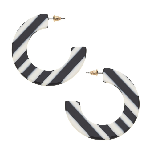 Molly Striped Hoop Earrings in Black and White