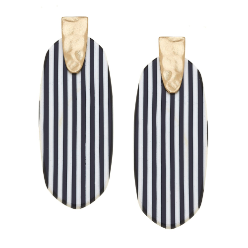 Remy Pinstripe Statement Earrings blk and wht