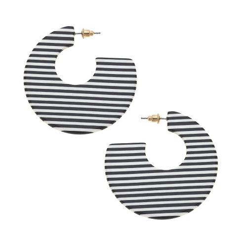 Roxy Pinstripe Hoop Earrings in Blk and Wht
