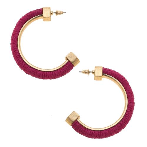 Felicity Hoop Earrings in Fuchsia Raffia
