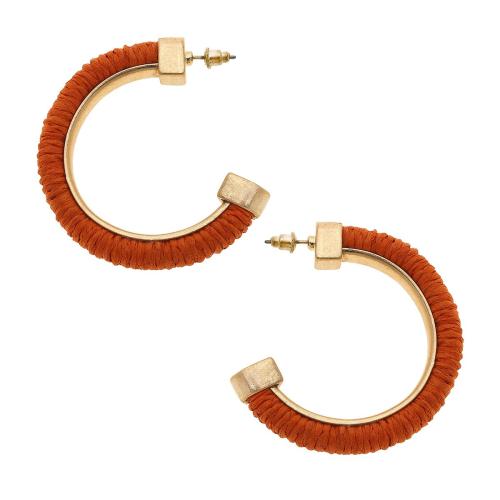 Felicity Hoop Earrings in Orange Raffia