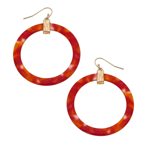 Colette Hoop Earrings in Coral Resin
