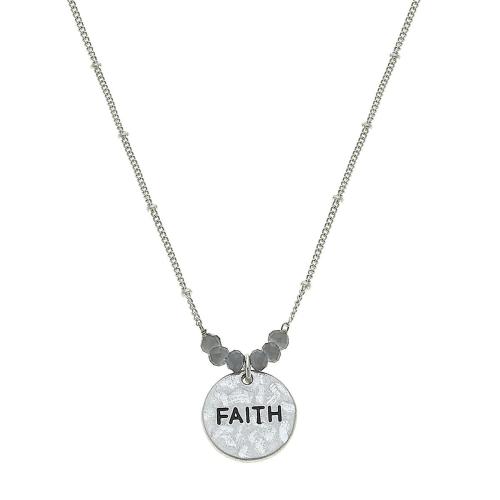 "Faith Necklace in Worn silver 16"" adj"