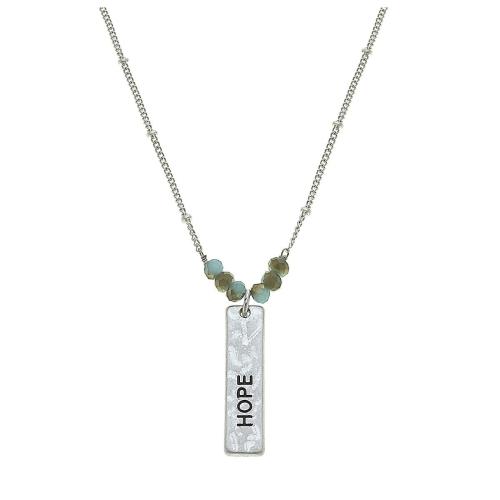 "Hope Bar Necklace in Worn Silver 16"" adj"