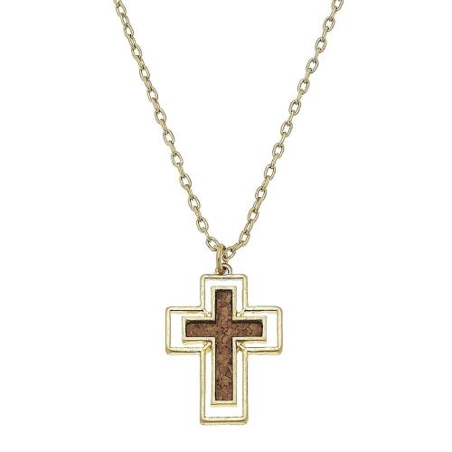 "Cork Cross Necklace 16"" adj"