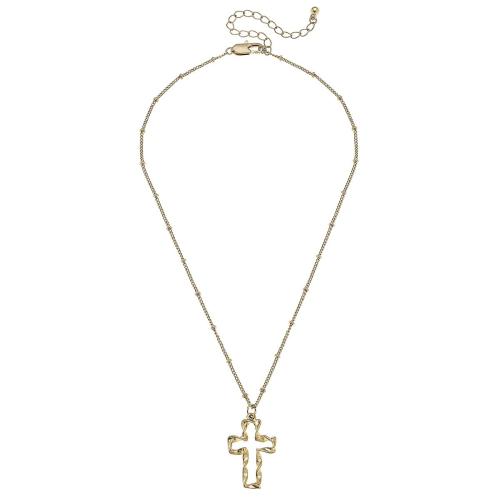 """Cross Necklace in Worn Gold 16"""" adj"""
