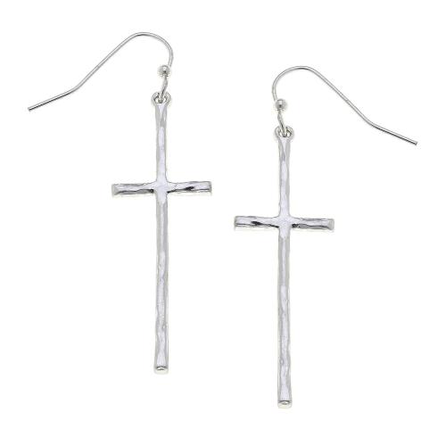 Cross Drop Earrings in Worn Silver
