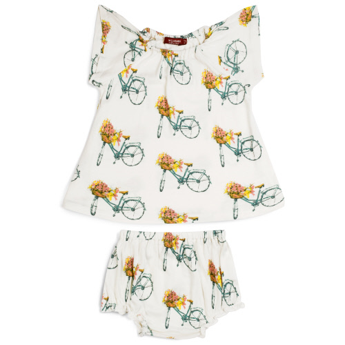 Peasant Dress & Bloomers in Floral Bicycle 12-18 months