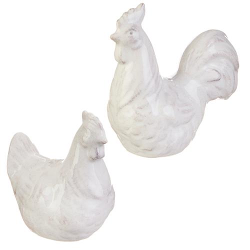 "Rooster and Hen Salt Pepper Shakrs 3.5"""