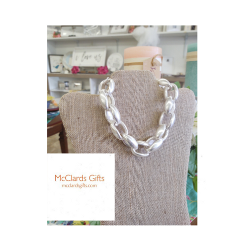 Puffed Anchor Link Necklace Silver