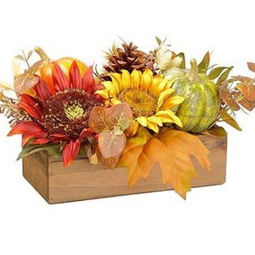 "Sunflower and Pumpkin Crate 15"""