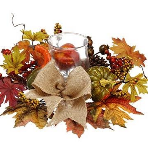 """16"""" Pumpkin Leaf and Berry Candle Centerpiece"""