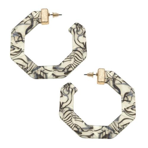 Bold Grey Open Hoop Earrings