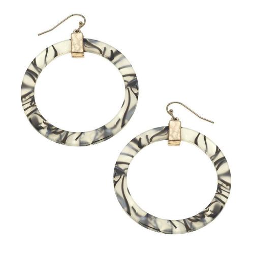 Bold Grey Hoop Earrings