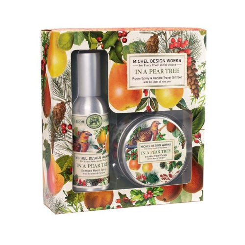 In a Pear Tree Room Spray and Travel Candle Set