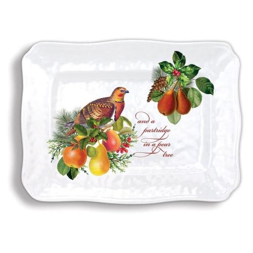 In a Pear Tree Melamine Serveware Large Platter