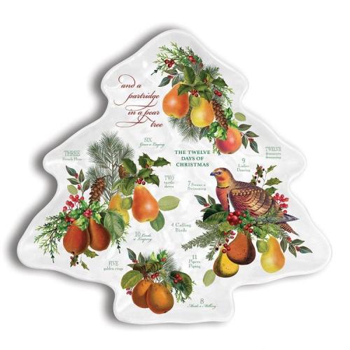 In a Pear Tree Melamine Serveware Christmas Tree Plate