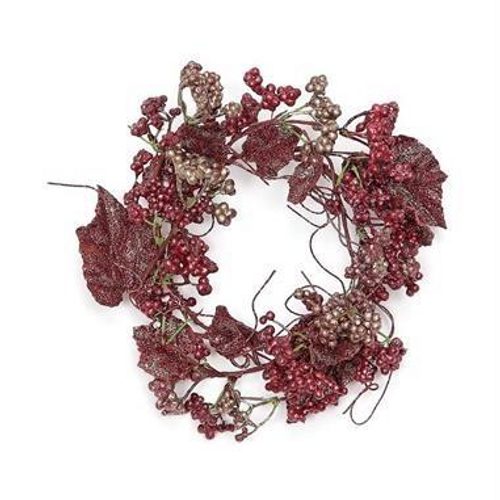 """Glitter mini berry and leaves candle ring, 5"""""""