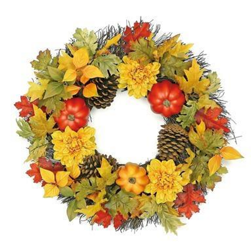 autumn leaf w/ pumpkin and dahlia wreath 24""