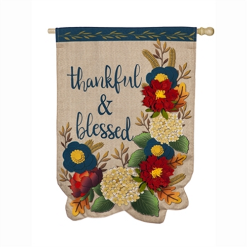 Thankful and Blessed Banner Flag