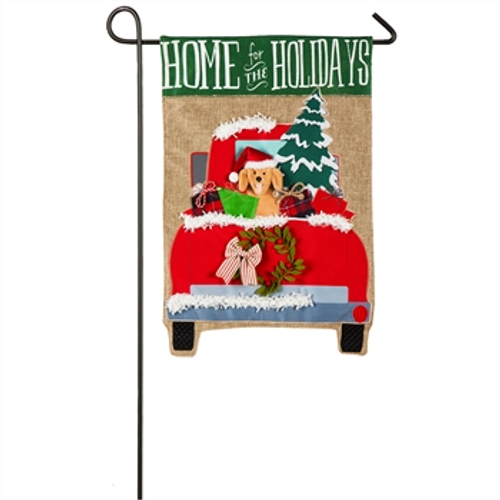 Home for the Holidays Pup Garden Burlap Flag
